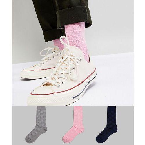 textured socks in basket weave 3 pack - multi marki Asos design
