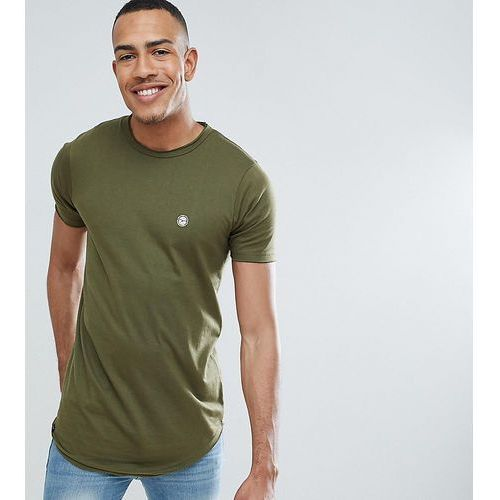Le Breve TALL Raw Edge Longline T-Shirt - Green, w 4 rozmiarach