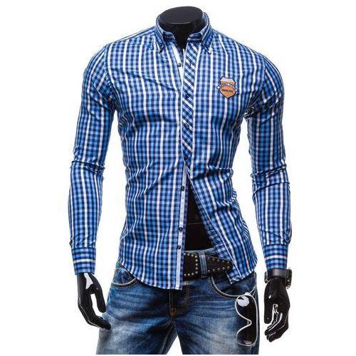 Niebieska koszula męska w kratę z długim rękawem Denley 0756 - NIEBIESKI, BY MIRZAD
