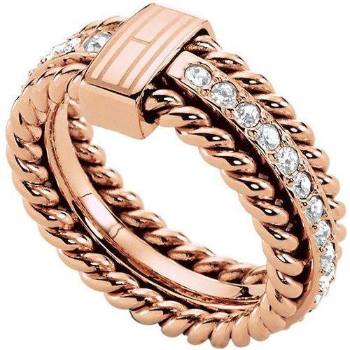 Tommy hilfiger piękny brązu pierścień kryształami th2700609 (obwód 58 mm)