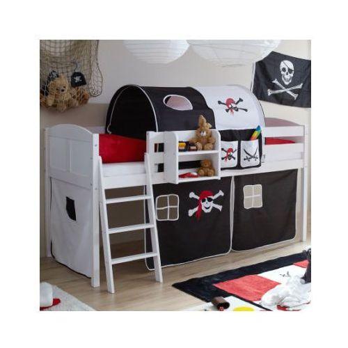 Ticaa łóżko z drabinką eric, białe drewno sosnowe country pirat kolor czarno-biały wyprodukowany przez Ticaa kindermöbel