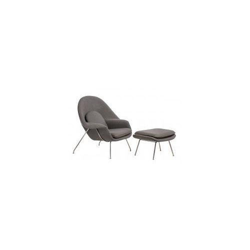 D2design Fotel snug z podnóżkiem (jasnoszary) d2