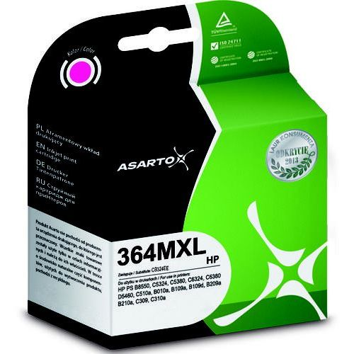 Tusz Asarto do HP 364XL | 11 ml | Photosmart B8550/C5324 | magenta, PO-AS-H364MXL