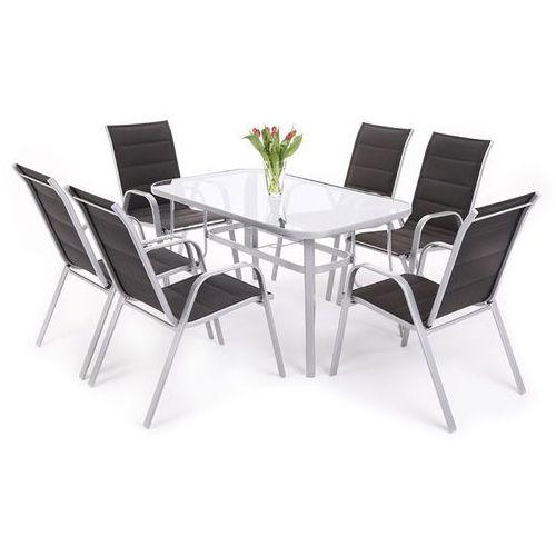 Home garden Zestaw mebli aluminiowych toscana alu silver / black 6+1 (882607) - srebrny / czarny