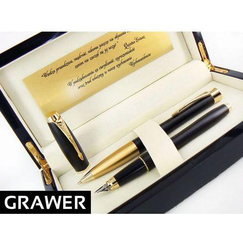 Eksluzywny zestaw  urban czarny pióro wieczne i długopis grawer dedykacja drewniane etui marki Parker