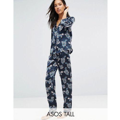 ASOS TALL Dragon Satin Shirt & Long Leg Pyjama Set With Metallic Piping - Multi