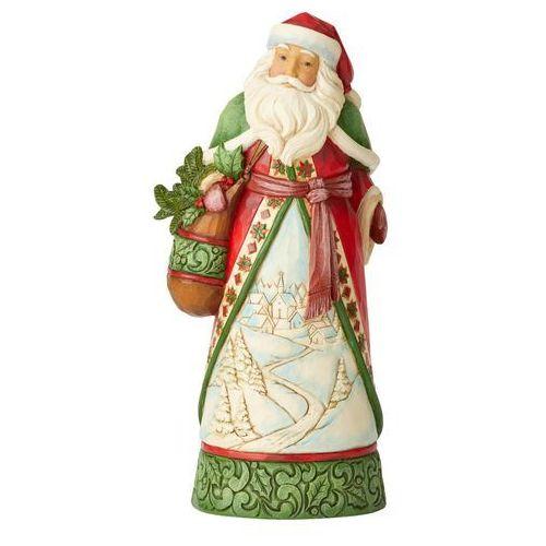 """Mikołaj """"Idą Święta"""" Christmas Is Calling (Santa with Satchel and Winter Scene 6004134 Jim Shore figurka ozdoba świąteczna"""