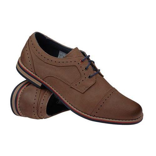 Półbuty sznurowane buty 4607-2-1 - beżowy ||brązowy marki Krisbut