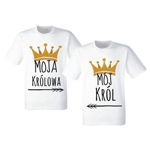 Koszulki Prezent Par Walentynki Król Królowa - biały \ ZDB0506