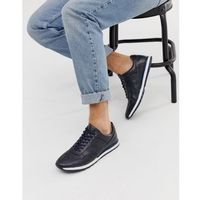 leather trainer in navy - navy, Silver street