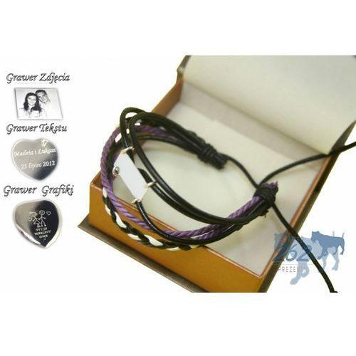 Victoriaw. Bransoleta skóra srebro925 rawline violet grawer foto