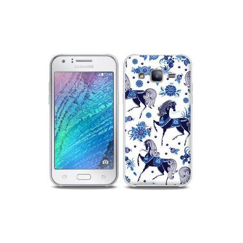 Samsung galaxy j5 - etui na telefon full body slim fantastic - folkowe niebieskie konie marki Etuo full body slim fantastic