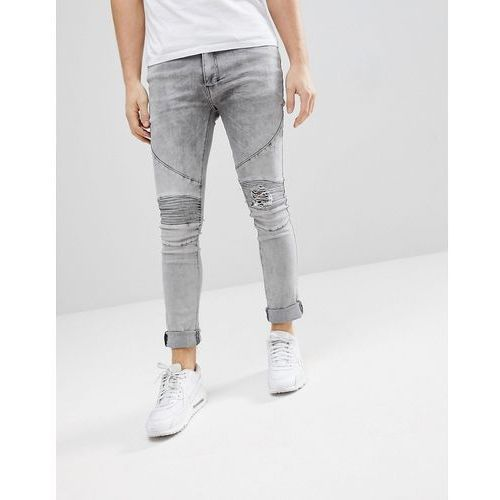 Religion Biker Jeans With Rip Repair Knee Detail In Skinny Fit With Stretch - Grey, kolor szary