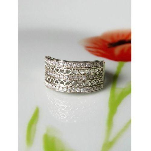Srebrny pierścionek koszyczek serduszka, rozmiar 18, kolor szary