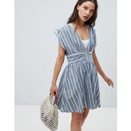 roll the dice striped dress - blue marki Free people