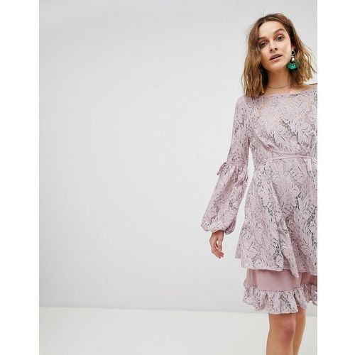 Free People Ruby Lace Dress with Tie Sleeves - Pink