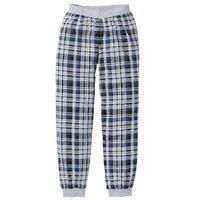 Spodnie do spania z dżerseju bonprix jasnoszary melanż w kratę, w 5 rozmiarach