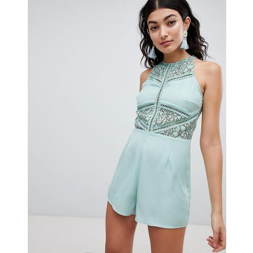 PrettyLittleThing Lace Detail Playsuit - Green