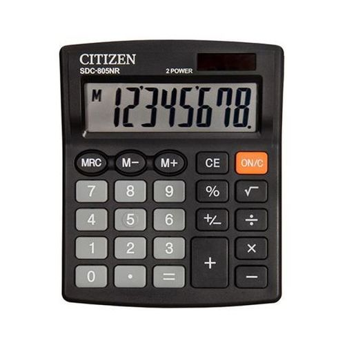 Kalkulator CITIZEN SDC-805NR 8-cyfrowy 120x105mm czarny, CI-SDC805NR