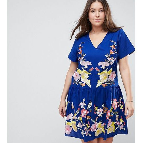 ASOS DESIGN Curve pep hem mini dress with embroidery - Blue