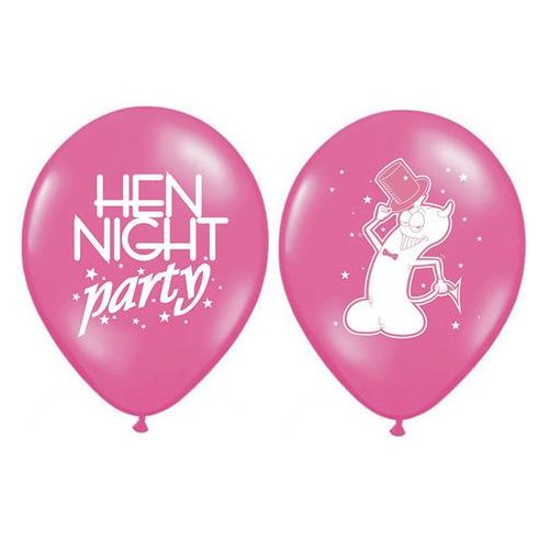 Balony lateksowe Hen night party ciemnoróżowe - 30 cm - 50 szt.