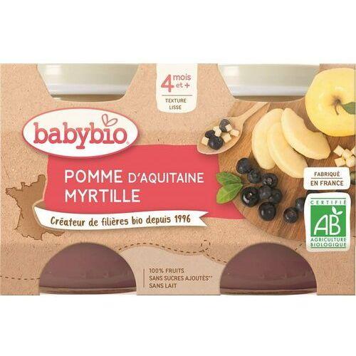 Babybio Deser jabłko-borówka od 4 miesiąca bezglutenowe bio 2x130 g