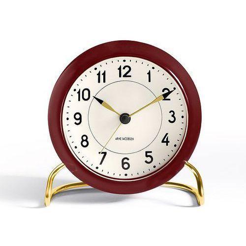 Zegar stołowy Arne Jacobsen Station ciemnoczerwono-biały, kolor biały