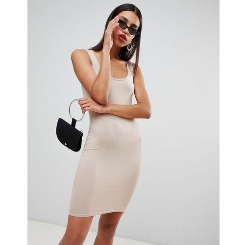 Boohoo Scoop Neck Bodycon Mini - Beige