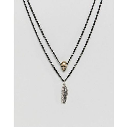 matte black necklace with gold & silver charms - black marki Icon brand