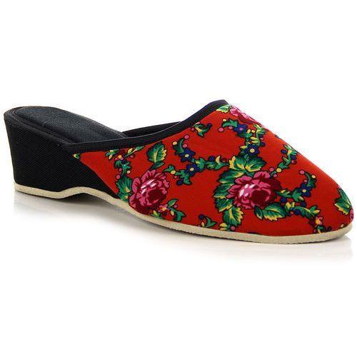 Laczki damskie na koturnie domowe czerwone w kwiaty Eliza - czerwony