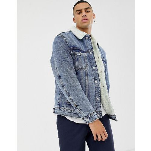 Bershka denim jacket in mid blue with borg collar and lining - Blue