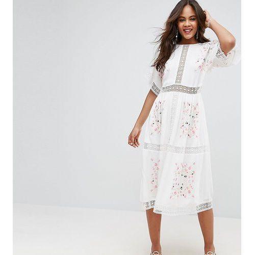 premium embroidered midi dress - white, Asos tall