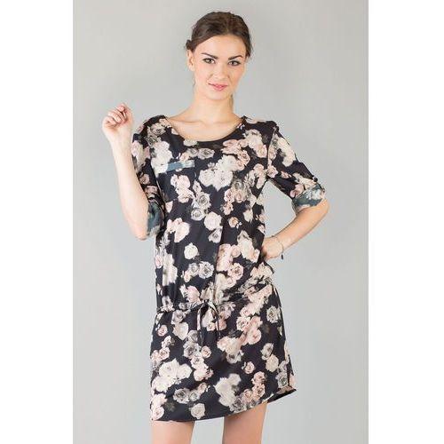 Czarna&Kwiatowa Casualowa Letnia Sukienka z Troczkami z Podpinanym Rękawem