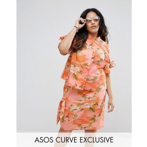 hawaiian printed blouse with button back and ties co-ord - multi marki Asos curve