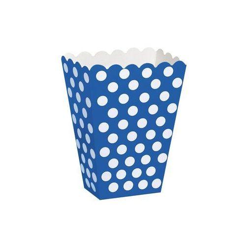 Unique Pudełka na popcorn niebieskie w białe kropki - 8 szt. (0011179592944)