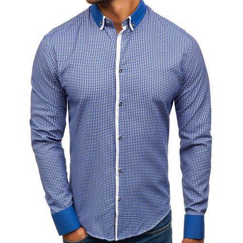 Koszula męska we wzory z długim rękawem niebieska Bolf 8806, kolor niebieski