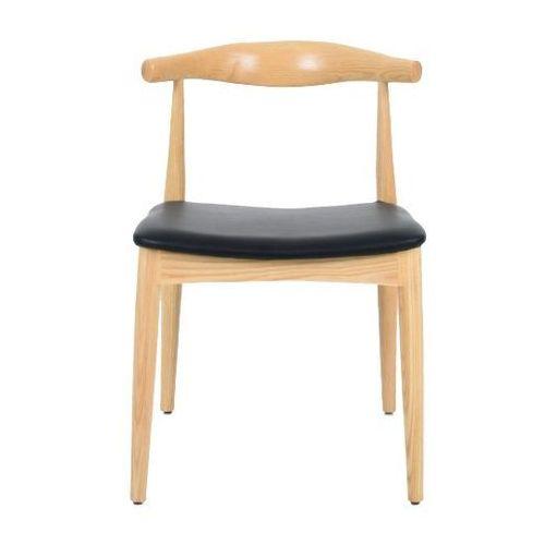 Krzesło Elbow na drewnianych nogach i z siedziskiem z ekoskóry