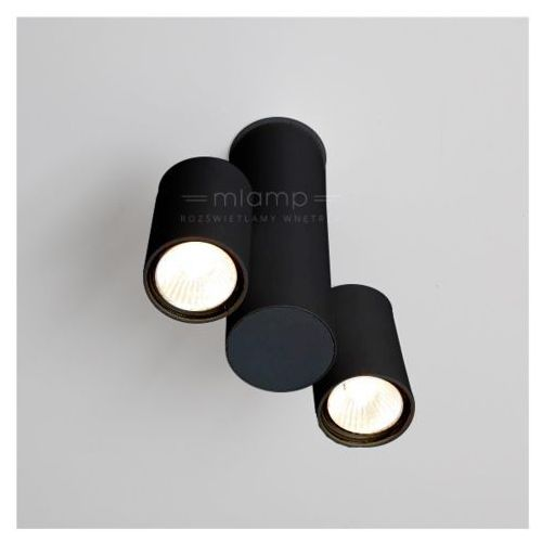 Lampa sufitowa shima 2244-b/gu10/cz metalowa oprawa reflektorowa minimalistyczna tuba czarna marki Shilo