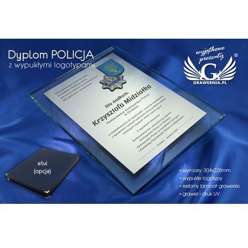 Grawernia.pl - grawerowanie i wycinanie laserem Dyplom szklany policja - dsz030 - pionowy - dwa kolorowe logotypy