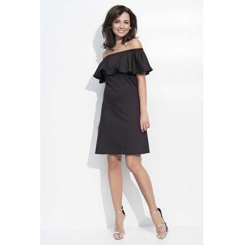 Czarna Sukienka Trapezowa Midi z Dekoltem Carmen