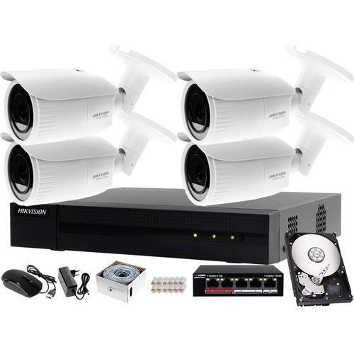 Kompletny zestaw do monitorowania firmy on-line Hikvision Hiwatch Rejestrator IP HWN-4108MH + 4x Kamera FullHD HWI-B620H-V + Akcesoria