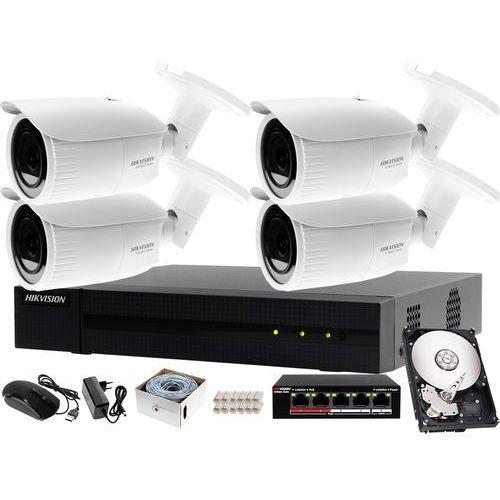 Kompletny zestaw do monitorowania firmy on-line rejestrator ip hwn-4104mh + 4x kamera fullhd hwi-b620h-v + akcesoria marki Hikvision hiwatch