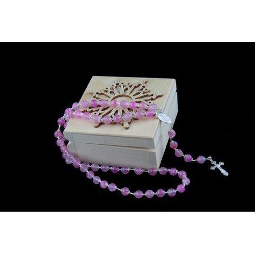 Różaniecart Piękny różowy różaniec winter aurora - prezent dla dziewczynki na komunię