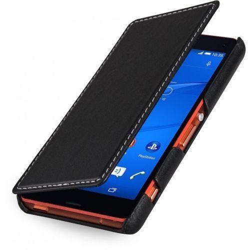 Skórzane etui z klapką StilGut UltraSlim Book - czarne (skóra nappa) - Sony Xperia Z3 Compact