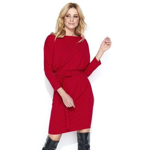225b74f670 Makadamia Dresowa czerwona sukienka bombka z kimonowym rękawem