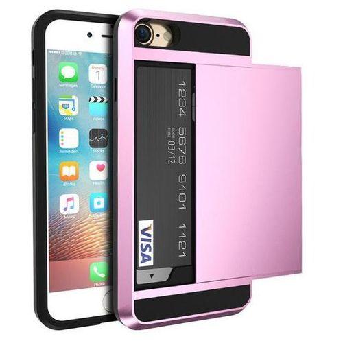Etui typu zbroja z miejscem na kartę kredytową dla iPhone X - Różowe - Różowy \ iPhone X, kolor różowy