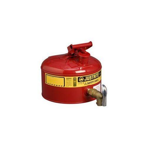 Justrite Bezpieczny pojemnik z kurkiem dozującym,blacha stalowa, lakierowanie na kolor czerwony