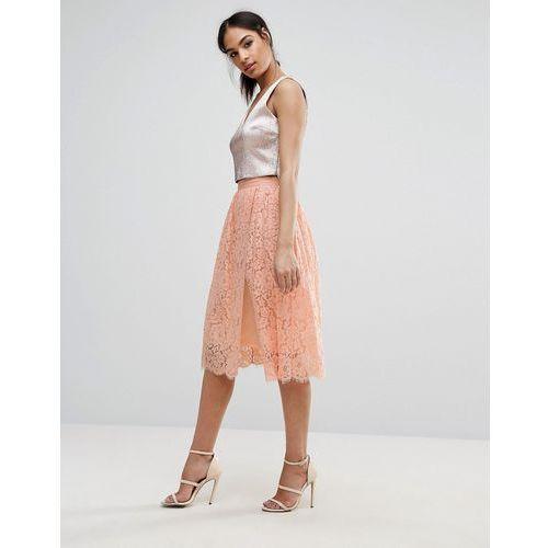 Boohoo Lace Overlay Midi Skirt - Pink, kolor różowy