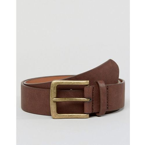 Asos wide belt in brown faux leather with vintage gold buckle - brown