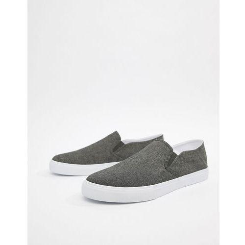 design slip on plimsolls in black chambray with stampdown heel - black, Asos